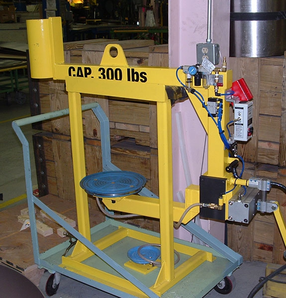 Vacuum lifter with air powered rotation