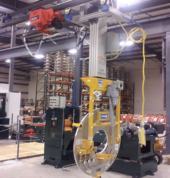 Overhead Vertical Mast Manipulator with vacuum lifter